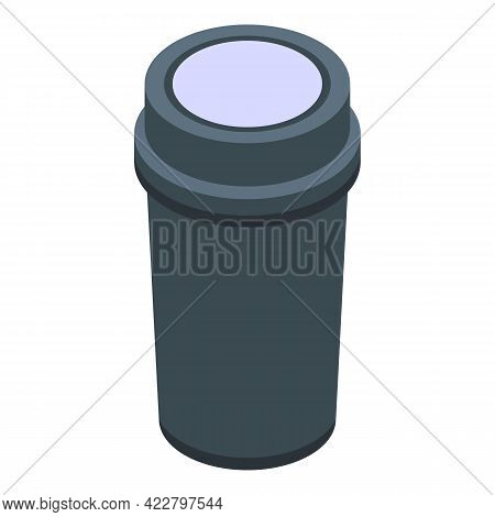 Hot Thermo Cup Icon. Isometric Of Hot Thermo Cup Vector Icon For Web Design Isolated On White Backgr