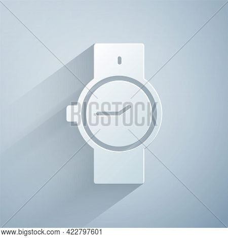 Paper Cut Wrist Watch Icon Isolated On Grey Background. Wristwatch Icon. Paper Art Style. Vector