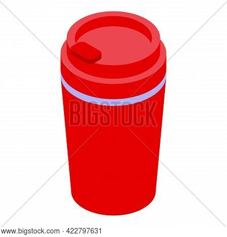 Camp Thermo Cup Icon. Isometric Of Camp Thermo Cup Vector Icon For Web Design Isolated On White Back