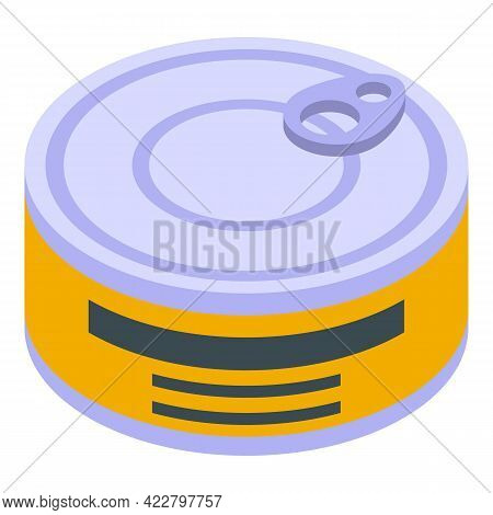 Vitamin D Tin Fish Icon. Isometric Of Vitamin D Tin Fish Vector Icon For Web Design Isolated On Whit