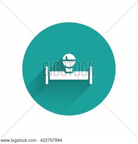 White Industry Metallic Pipe And Manometer Icon Isolated With Long Shadow. Green Circle Button. Vect