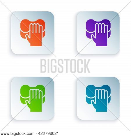 Color Cleaning Service Icon Isolated On White Background. Latex Hand Protection Sign. Housework Clea