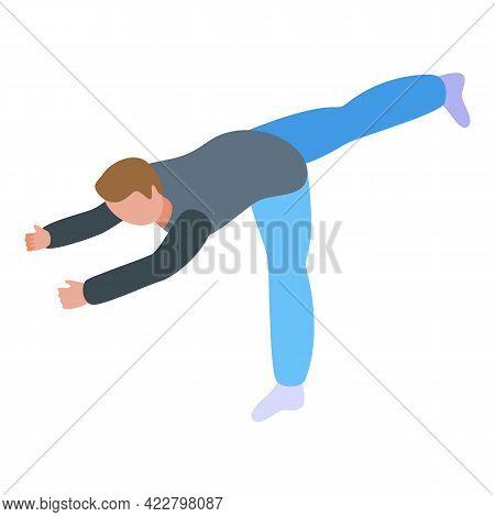 Boy Practice Yoga Icon. Isometric Of Boy Practice Yoga Vector Icon For Web Design Isolated On White