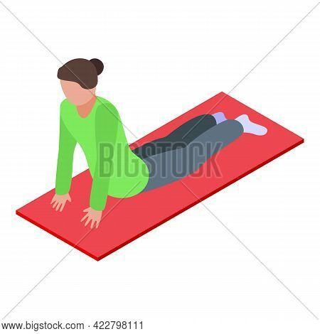 Woman Practice Stretch Icon. Isometric Of Woman Practice Stretch Vector Icon For Web Design Isolated