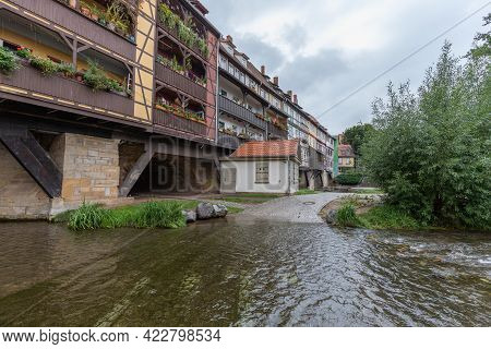 Wide Angle View Of The Bridge Krämerbrücke With Half-timbered Houses In Erfurt; Thuringia