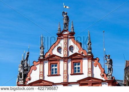 Gable From The Town House In Coburg With Soldier Statues