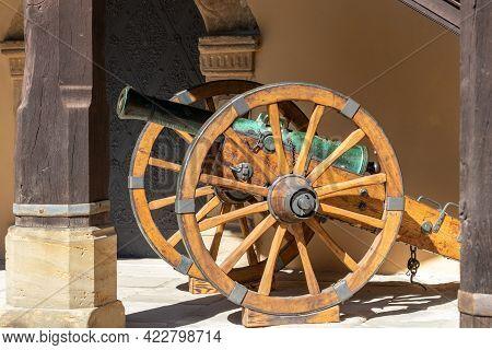 Old Cannon On Spoked Wheels At Veste Coburg, Bavaria