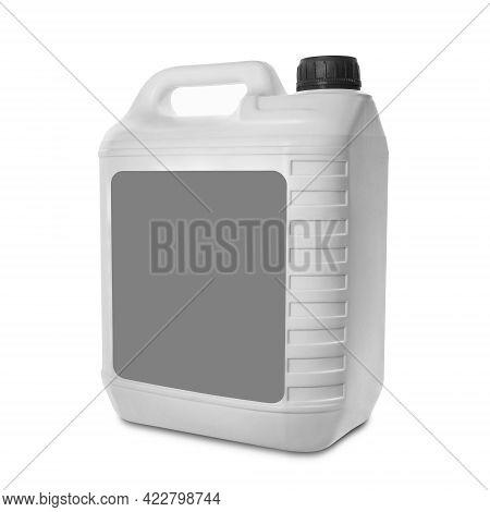 Plastic Canister Isolated On White Background. Blank White Canister With Empty Gray Label And Black