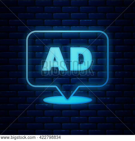 Glowing Neon Advertising Icon Isolated On Brick Wall Background. Concept Of Marketing And Promotion