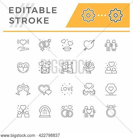 Set Line Icons Of Love And Romance Isolated On White