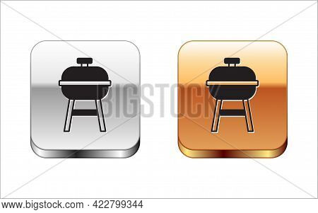 Black Barbecue Grill Icon Isolated On White Background. Bbq Grill Party. Silver And Gold Square Butt