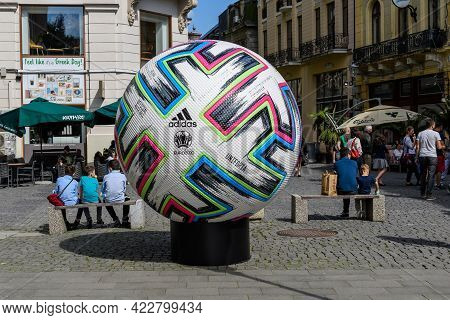 Bucharest, Romania, 5 June 2021 - Official Adidas Uniforia Large Match Ball Is Displayed In A Street