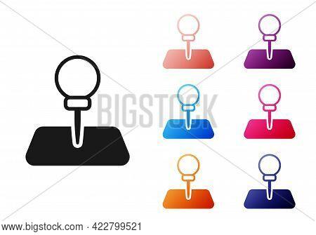Black Push Pin Icon Isolated On White Background. Thumbtacks Sign. Set Icons Colorful. Vector