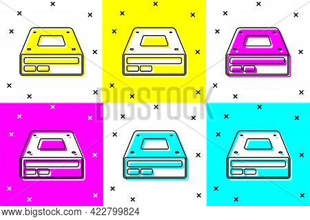Set Optical Disc Drive Icon Isolated On Color Background. Cd Dvd Laptop Tray Drive For Read And Writ