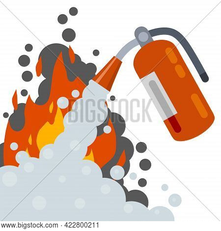 Extinguisher. Fireman Tool. Red Cylinder. Flat Cartoon Illustration. Smoke, Flame And Foam. Big Fire