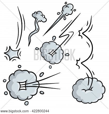 Effect Of Comic Speed. Funny Cloud Of Movement. Bubble Cloud. Cartoon Drawn Illustration. Set Of Fun