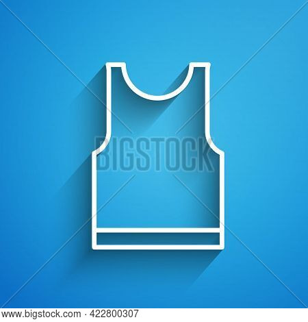 White Line Sleeveless T-shirt Icon Isolated On Blue Background. Long Shadow. Vector Illustration