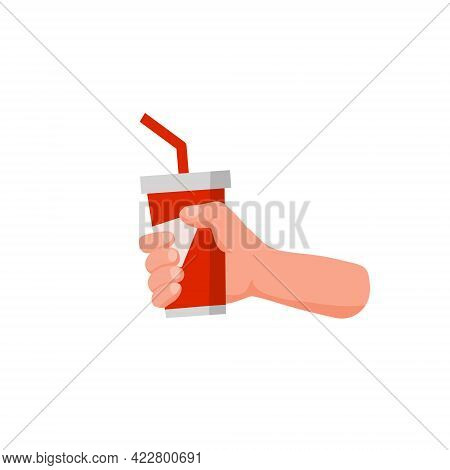 Hand Hold Drink. Red Glass With Soda And Straw. Soft Drink. Flat Cartoon Illustration