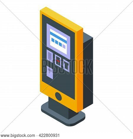 Paid Parking Kiosk Icon. Isometric Of Paid Parking Kiosk Vector Icon For Web Design Isolated On Whit