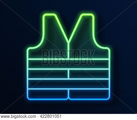 Glowing Neon Line Life Jacket Icon Isolated On Blue Background. Life Vest Icon. Extreme Sport. Sport