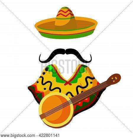 Poncho And Banjo Guitar. National Dress. Latin Costume. Sombrero Hat And Mustache. Flat Cartoon Ills