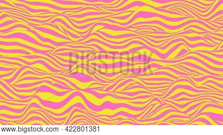 Abstract Waves Background In Pink And Yellow Colors. Striped Surface With Wavy Distortion Effect, Ve