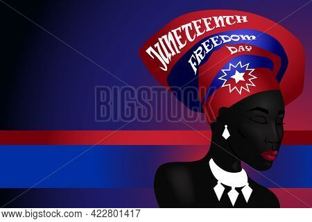 Silhouette Of African American Woman With Headdress With Juneteenth Flag Pattern. Freedom, Patriotis