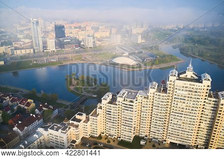 Minsk, Belarus - May 16, 2021 - Beautiful View Of The Central Part Of The City During Dawn And Heavy