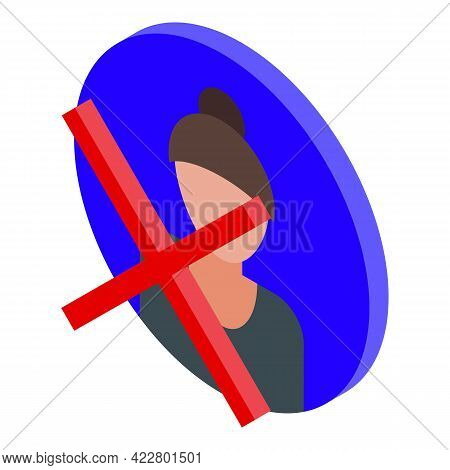 Delete User Woman Icon. Isometric Of Delete User Woman Vector Icon For Web Design Isolated On White