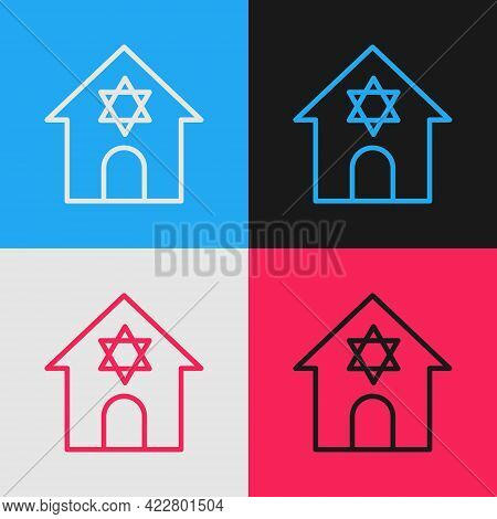 Pop Art Line Jewish Synagogue Building Or Jewish Temple Icon Isolated On Color Background. Hebrew Or