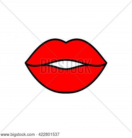 Lips Kiss Illustration. Vector Icon, Symbol Isolated On White. Cool Sexy Red Kisses. Cartoon Sign Fo