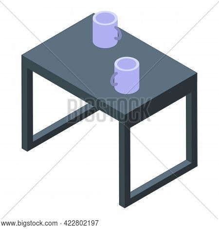 Office Coffee Table Icon. Isometric Of Office Coffee Table Vector Icon For Web Design Isolated On Wh