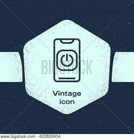 Grunge Line Turn Off Robot From Phone Icon Isolated On Blue Background. Monochrome Vintage Drawing.