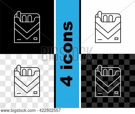 Set Line Cigarettes Pack Box Icon Isolated On Black And White, Transparent Background. Cigarettes Pa