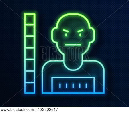 Glowing Neon Line Suspect Criminal Icon Isolated On Blue Background. The Criminal In Prison, Suspect
