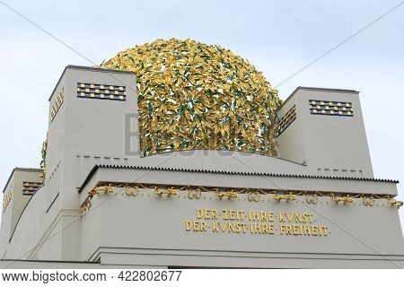 Vienna, Austria - May 15, 2019: This Is The Gilded Openwork Sphere Of Secession House That Is Ione O