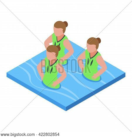 Synchronized Swimming Ballet Icon. Isometric Of Synchronized Swimming Ballet Vector Icon For Web Des