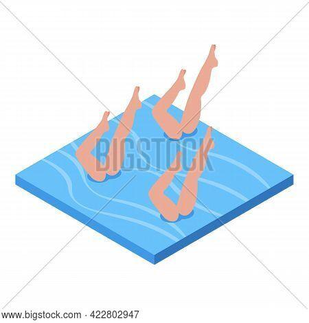 Synchronized Swimming Legs Icon. Isometric Of Synchronized Swimming Legs Vector Icon For Web Design