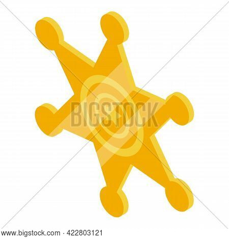 Cowboy Gold Star Icon. Isometric Of Cowboy Gold Star Vector Icon For Web Design Isolated On White Ba