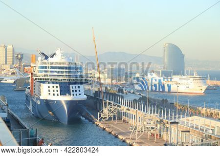 Barcelona, Spain - September, 24th 2019: Celebrity Edge, Moored At The Cruise Terminal In Barcelona