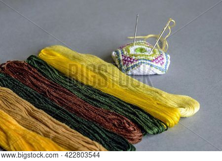 Colorful Floss Threads For Embroidery And Needle Bar. Colored Mouline Threads. Set For Hand Embroide