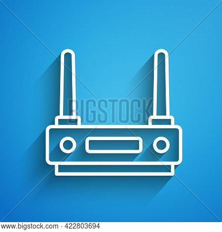 White Line Router And Wi-fi Signal Icon Isolated On Blue Background. Wireless Ethernet Modem Router.
