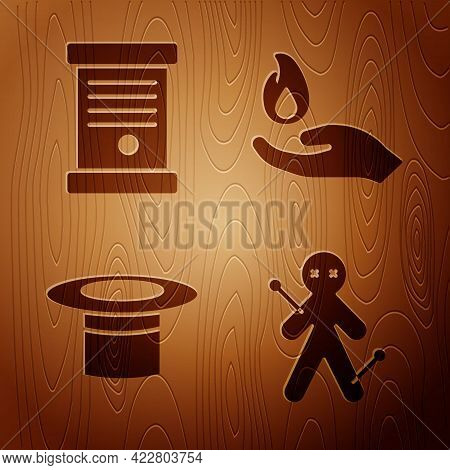 Set Voodoo Doll, Decree, Paper, Parchment, Scroll, Magician Hat And Hand Holding A Fire On Wooden Ba