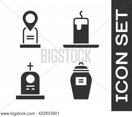 Set Funeral Urn, Location Grave, Grave With Tombstone And Burning Candle Icon. Vector