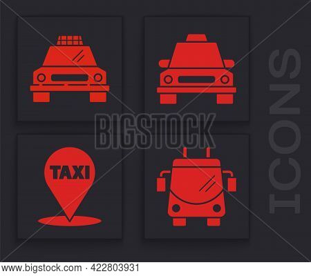 Set Trolleybus, Taxi Car, Taxi Car And Map Pointer With Taxi Icon. Vector