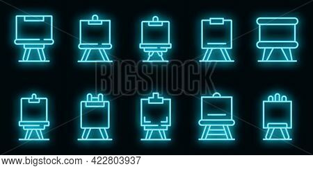 Easel Icons Set. Outline Set Of Easel Vector Icons Neon Color On Black