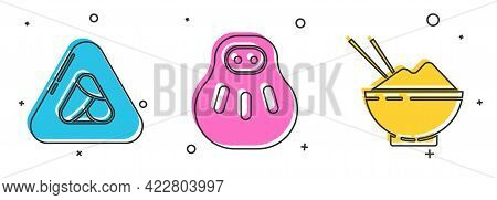 Set Sushi, Maneki Neko Cat And Rice In A Bowl With Chopstick Icon. Vector