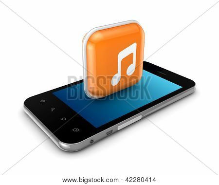 Mobile phone and icon with symbol of music.