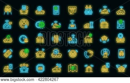 Unmanned Taxi Icons Set. Outline Set Of Unmanned Taxi Vector Icons Neon Color On Black