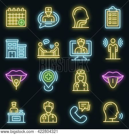 Speech Therapist Icons Set. Outline Set Of Speech Therapist Vector Icons Neon Color On Black